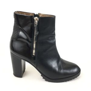 DOLCE VITA Leather & Patent Zip Stacked Heel Boots